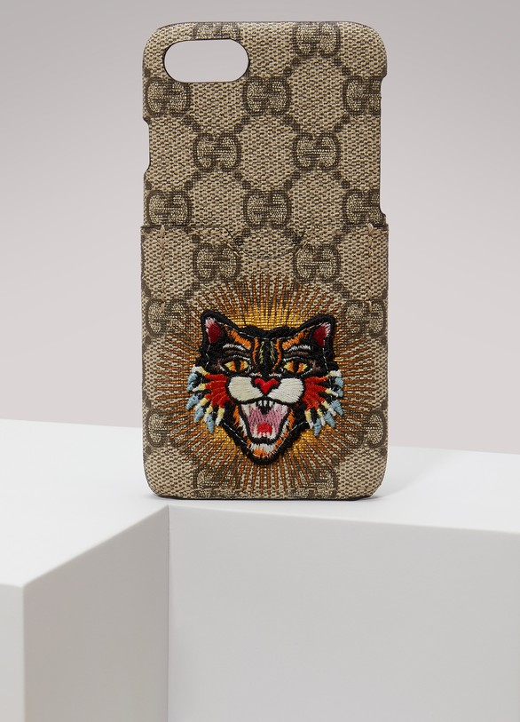 GUCCIEtui pour iPhone 7 brod√© Angry Cat