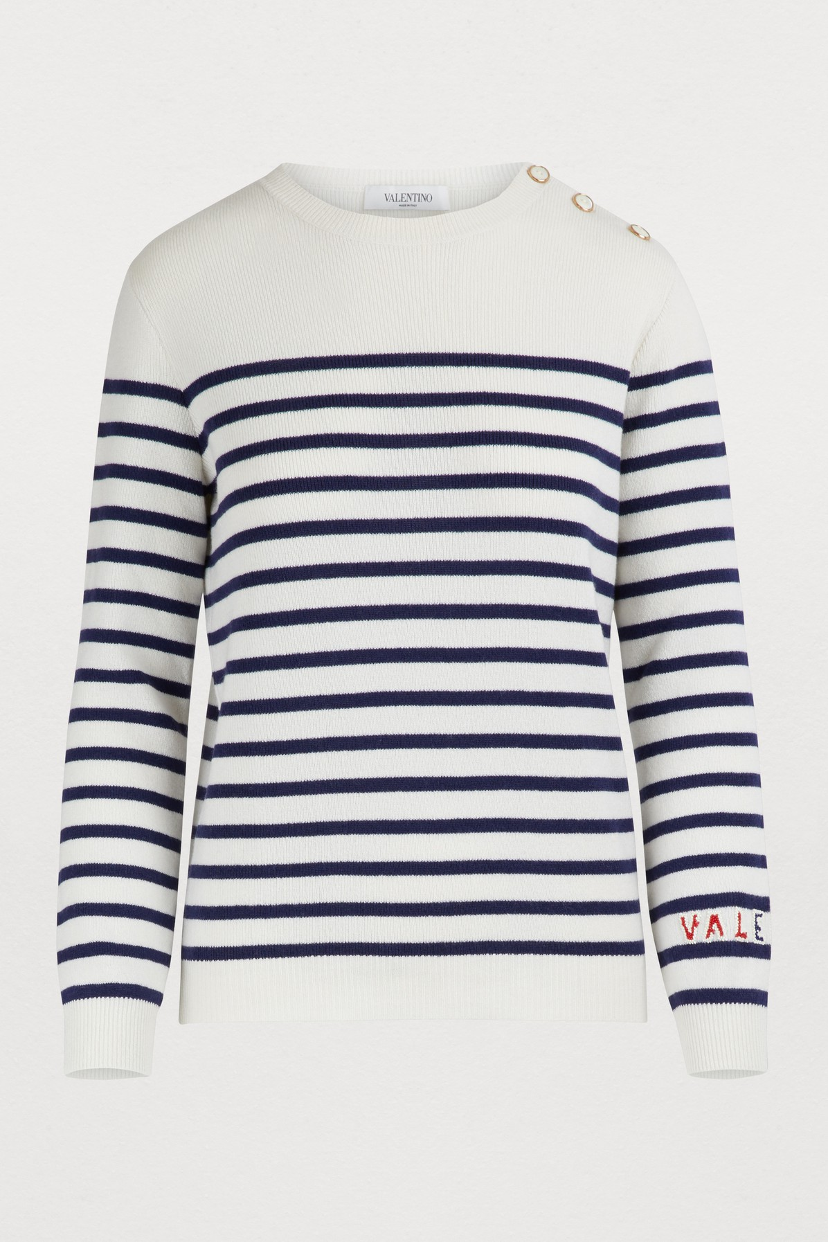 dcfe6b12b Valentino Striped Cashmere Knit Sweater In White