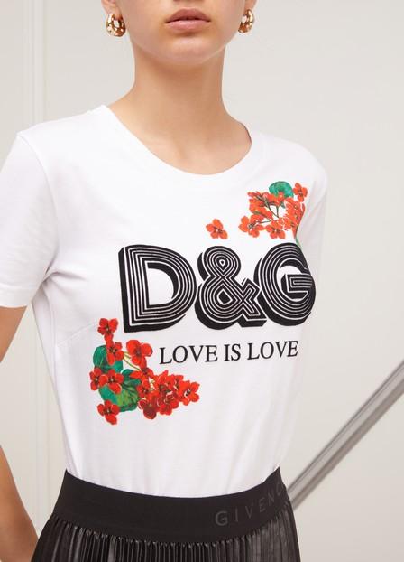 Dolce & Gabbana Flocked Floral-Print Cotton-Jersey T-Shirt In W0800 White