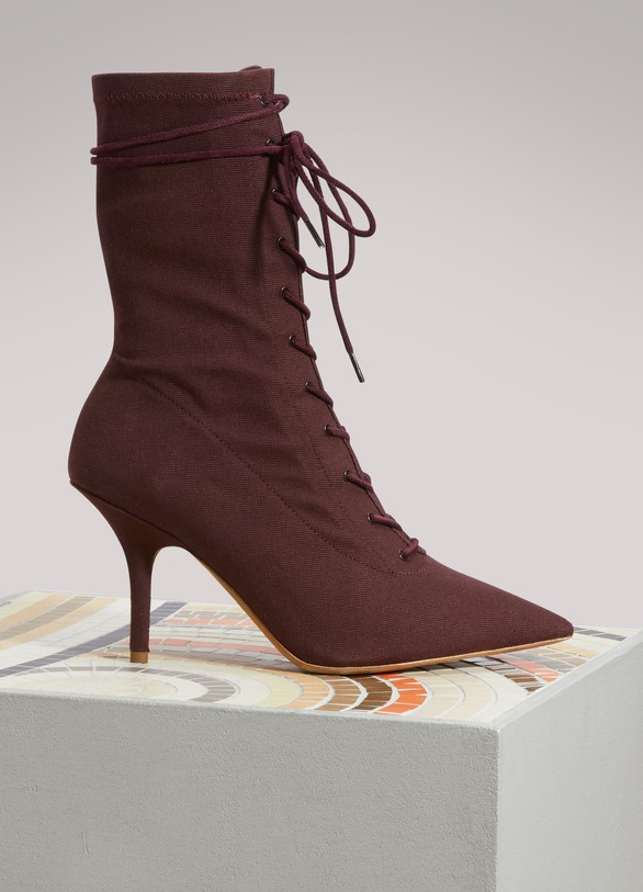 YeezyCanvas lace up boots