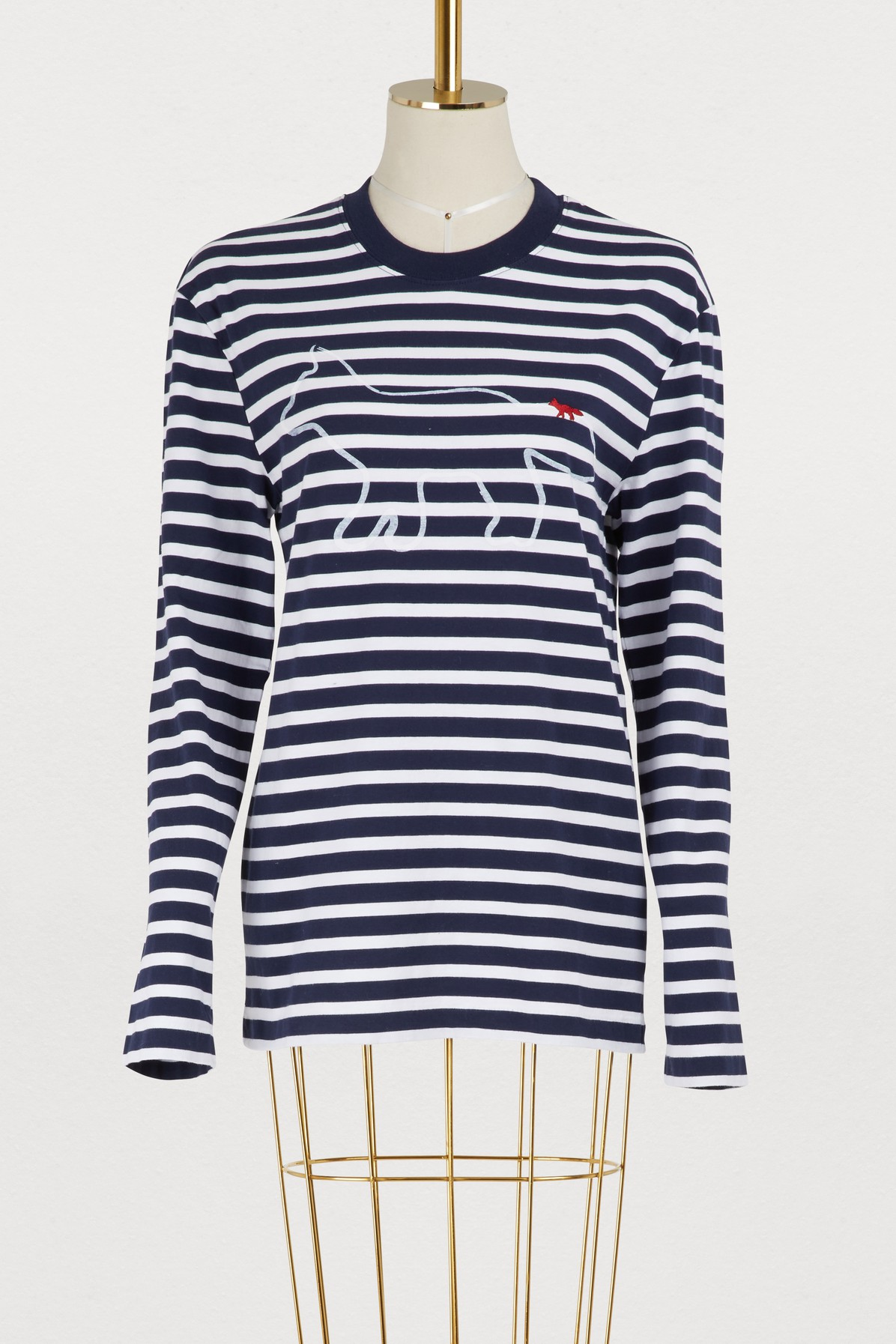MAISON KITSUNE | Striped cotton fox shirt | Goxip