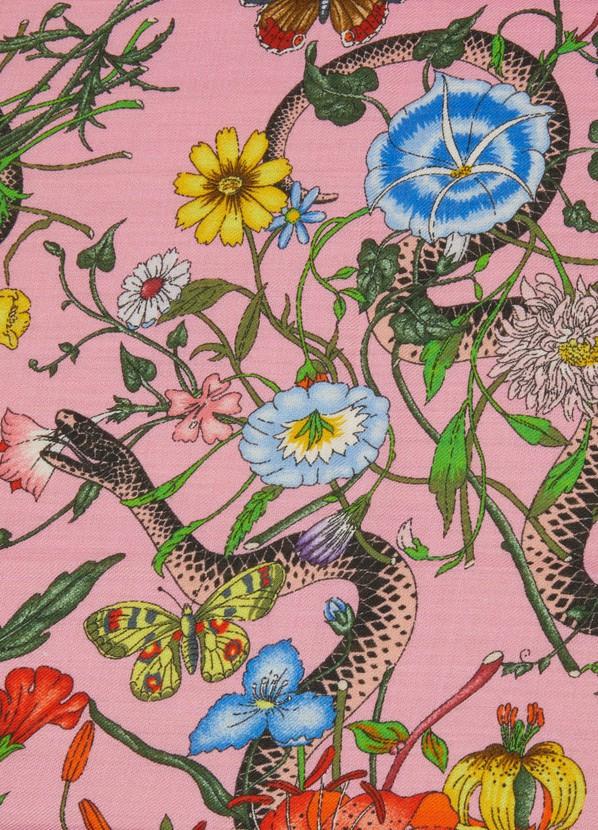 6ae2d6438e7 Gucci Flora Snake Print Wool Silk Shawl ...