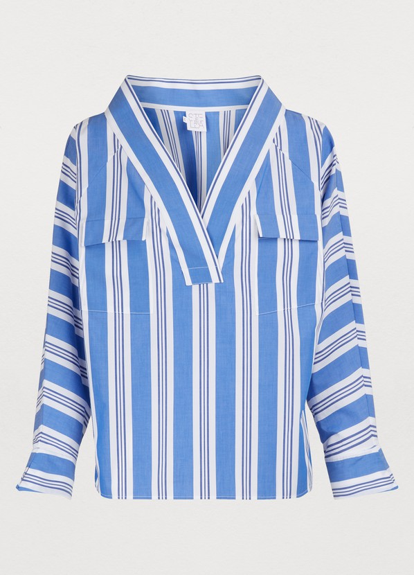 STELLA JEAN Striped Cotton Blouse in White/Blu
