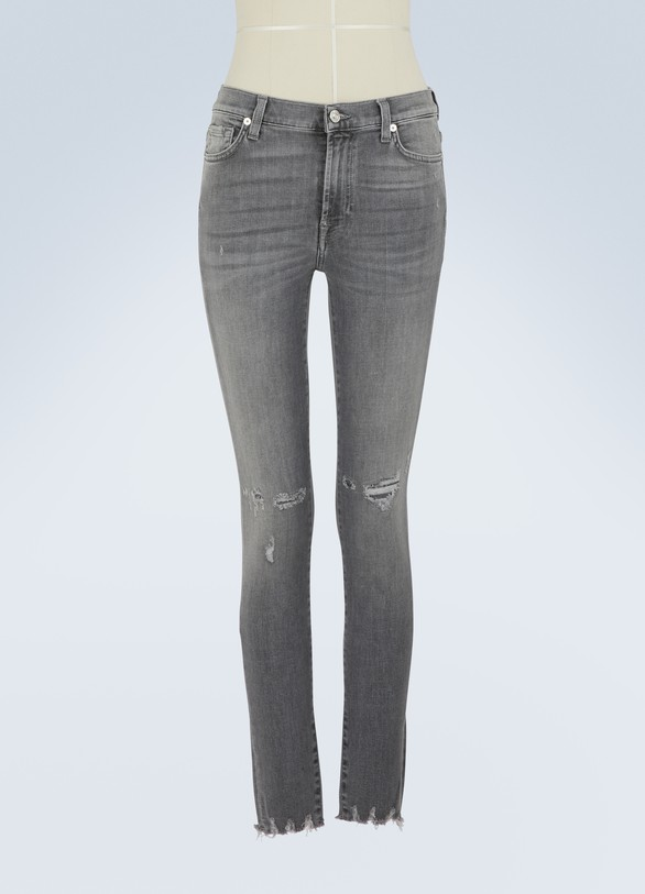 7 For All MankindSkinny Crop high-waisted slim-fit jeans