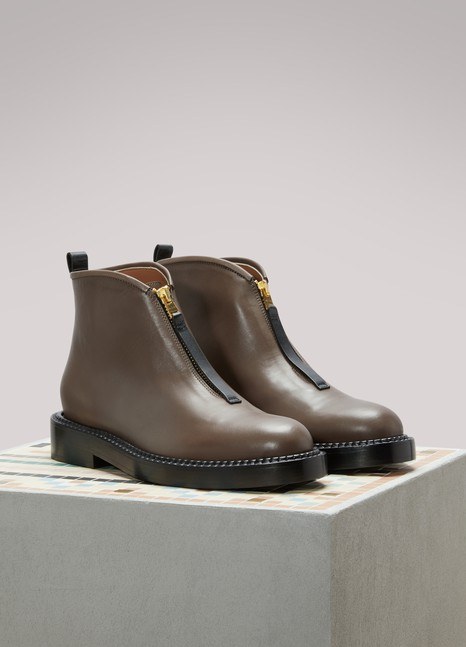 Marni Flat Leather Ankle Boots