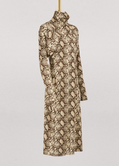 Céline Mock neck dress in snake printed crepe jersey