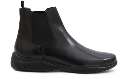Prada Beatless Chelsea Leather Boots In Nero