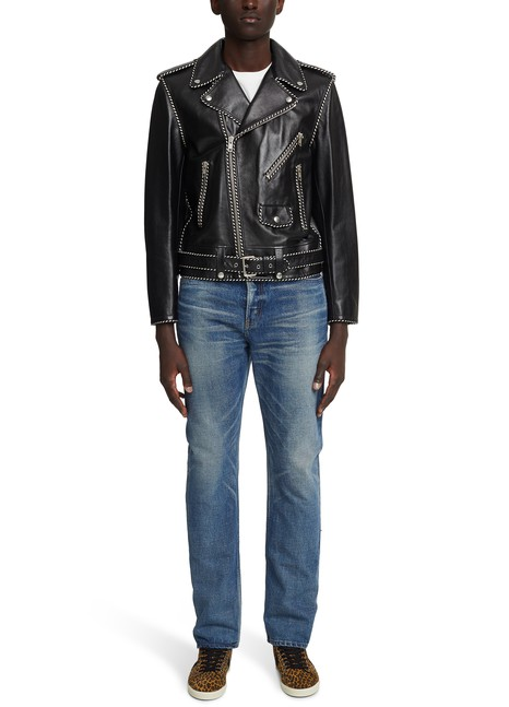 CELINEBiker Jacket with plaited calfskin piping