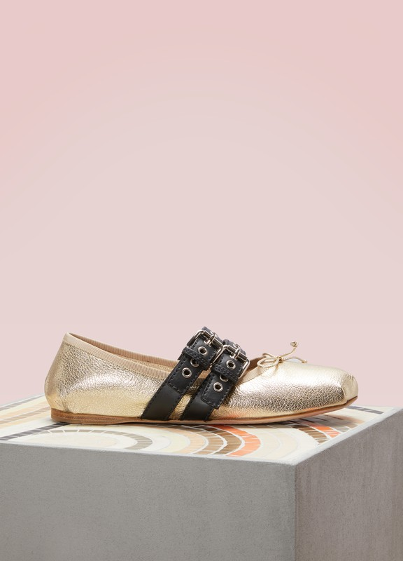 2d270e1226bb Miu Miu. Buckled Leather Flats