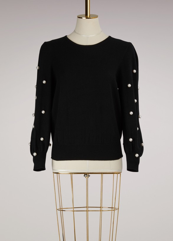 Marc Jacobs Long Sleeve Crewneck Pearl Sweater
