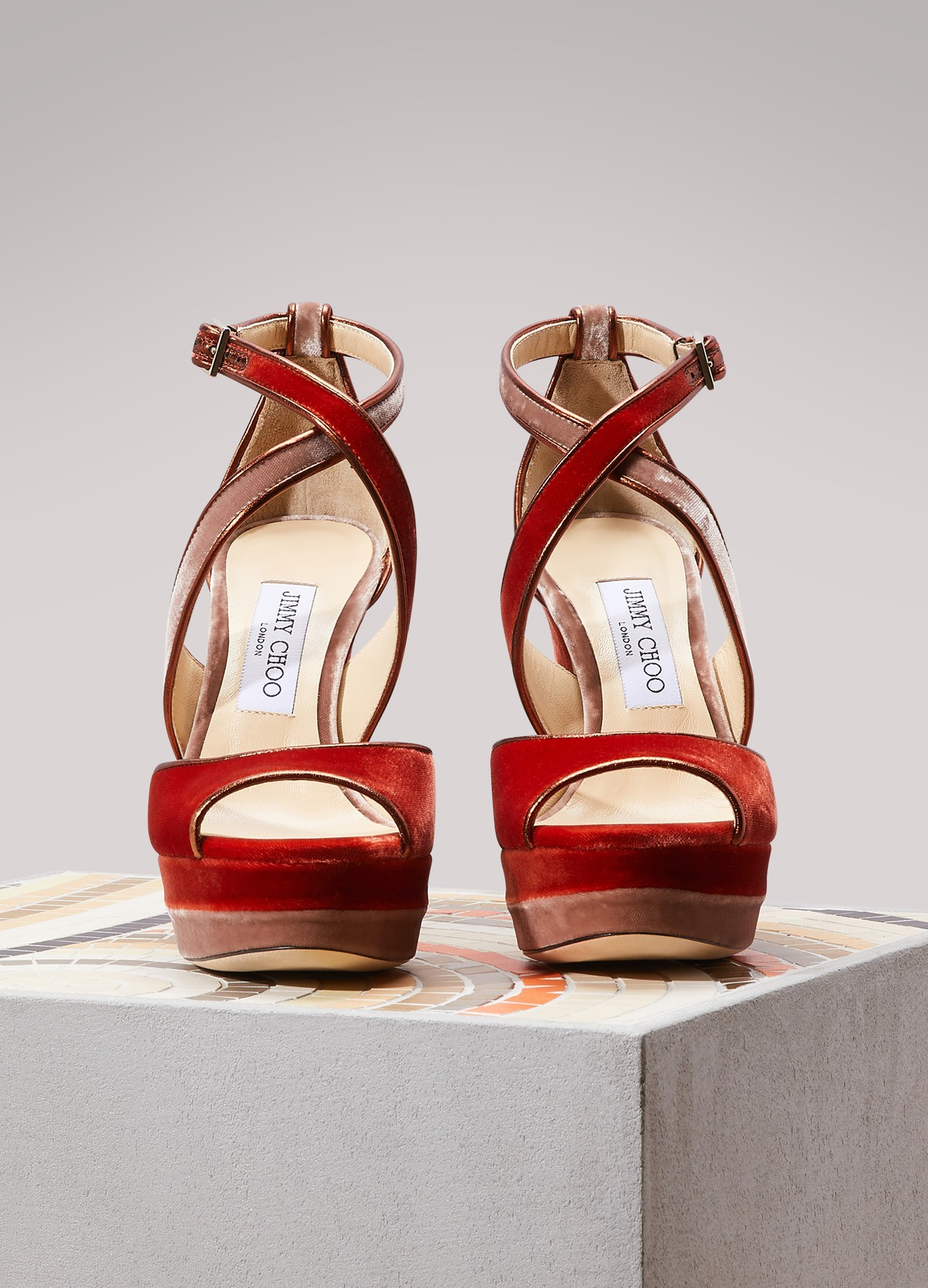 JIMMY CHOO Sandales en velour et cuir April 120