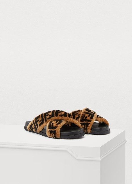 FENDI FF fur sandals