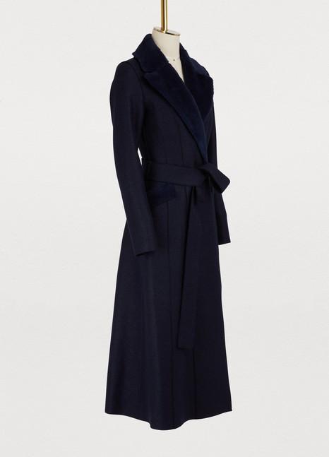 Harris Wharf LondonWool long coat with faux fur collar