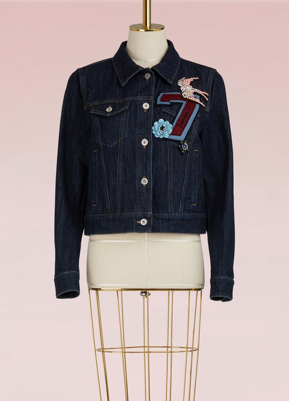 Miu Miu Denim Jacket with Embroidered Number