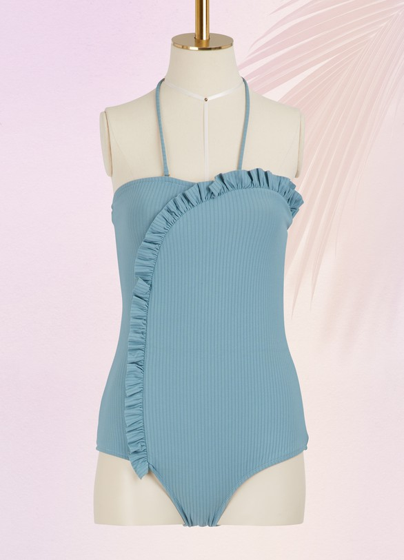 Made by Dawn One-piece swimsuit with ruffles