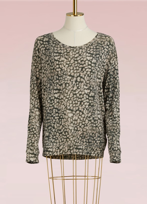 Majestic Filatures Cotton and Cashmere Leopard Top