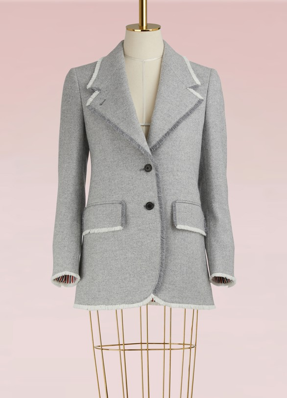 Thom Browne Wool Blazer with Wide Collar