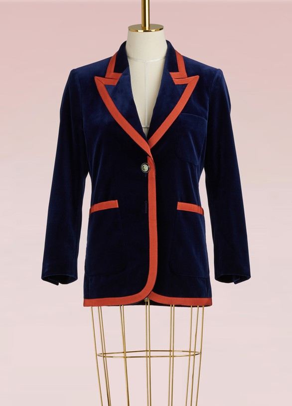 Gucci Stretch Velvet Jacket with Grosgrain Trim