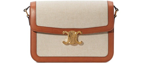 CELINELarge Triomphe bag in textile and natural calfskin
