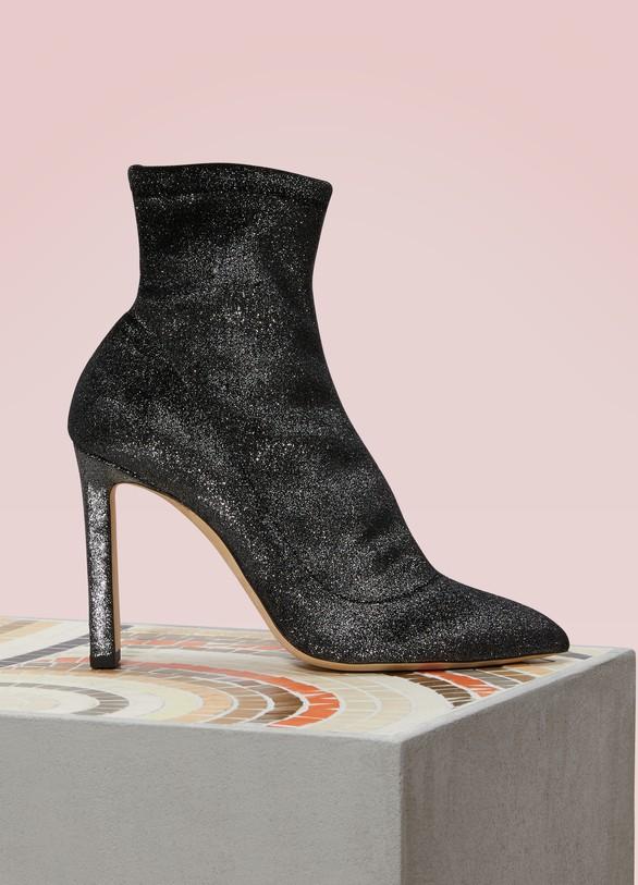 Jimmy choo Louella 100 Metallic Velvet Ankle Boots