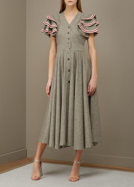 Jour/NéRuffled sleeve linen dress