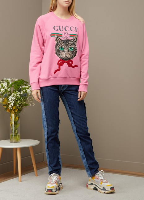 Gucci Sweat-shirt avec logo Gucci et Mystic Cat