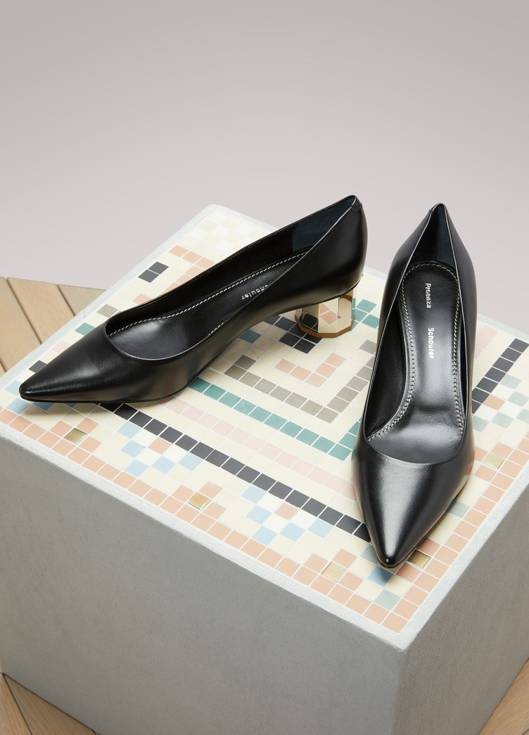 Silver Mid-Heel Leather Pumps