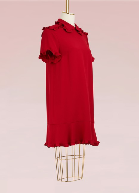 Red ValentinoShort Dress with Ruffles