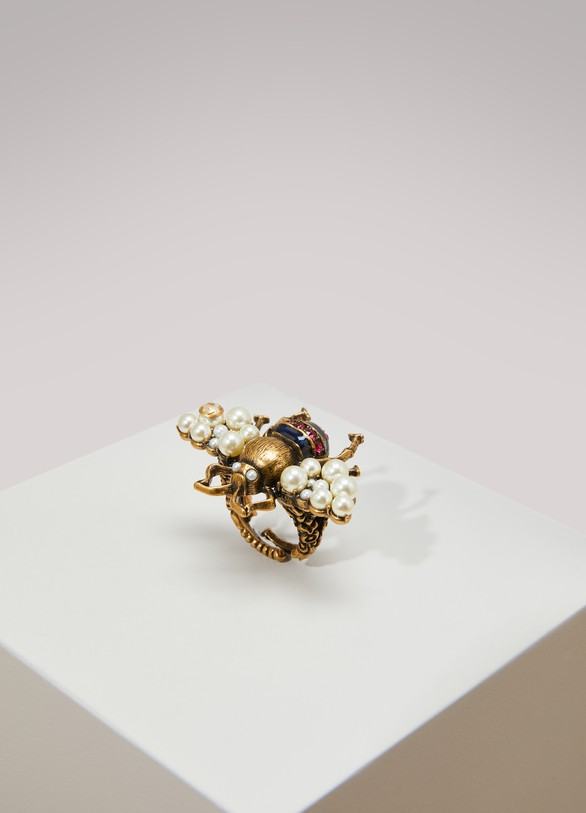 Women 39 s Bee ring with crystals and pearls Gucci 24 S vres