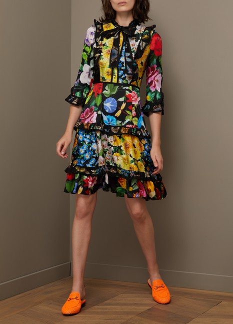GucciRobe en soie Patch Florage Insects