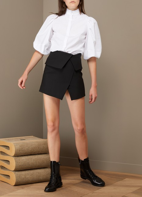 Balmain Asymmetrical Wool Short Skirt