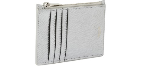 CELINECompact zipped cardholder in patent grained calfskin