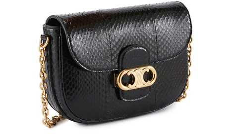 CELINE Medium Triomphe bag on chain in watersnake