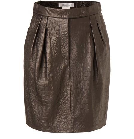 Max Mara Croc Embossed Leather Mini Skirt In Black