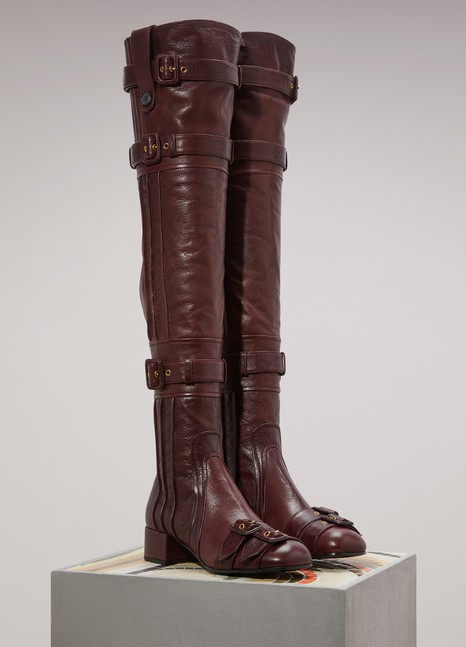PradaStrapped thigh-high boots