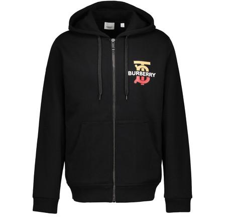 Burberry Logo And Monogram-Print Cotton Hooded Sweatshirt In Black