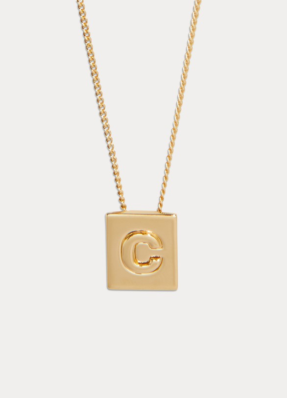 19fd622fe4e434 Women's Alphabet C necklace in brass with gold finish | Celine | 24S ...