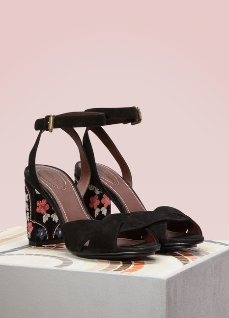 See by Chloé Sandals with Floral Patterned Heels