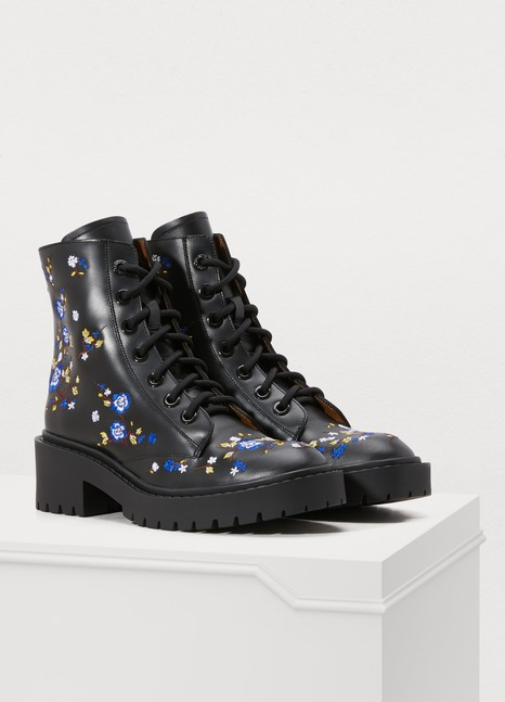 KENZO Leather boots with emrboidered flowers