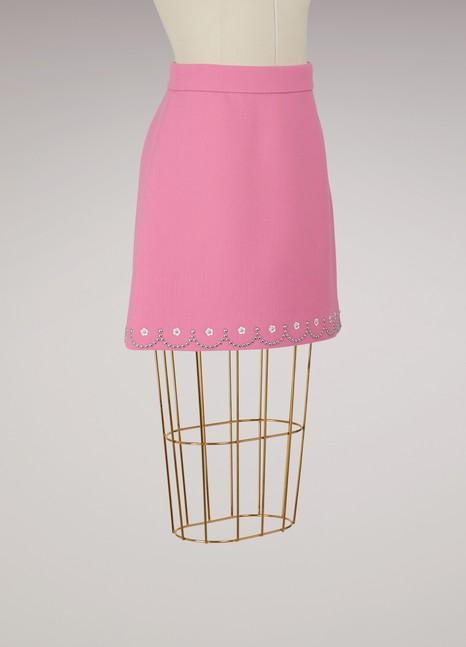 Miu MiuEmbroidere wool skirt
