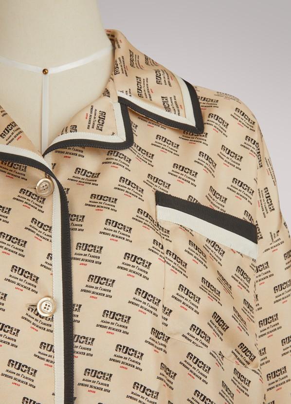 a87e78d50d55 Women's Gucci invite stamp silk shirt | Gucci | 24S | 24S