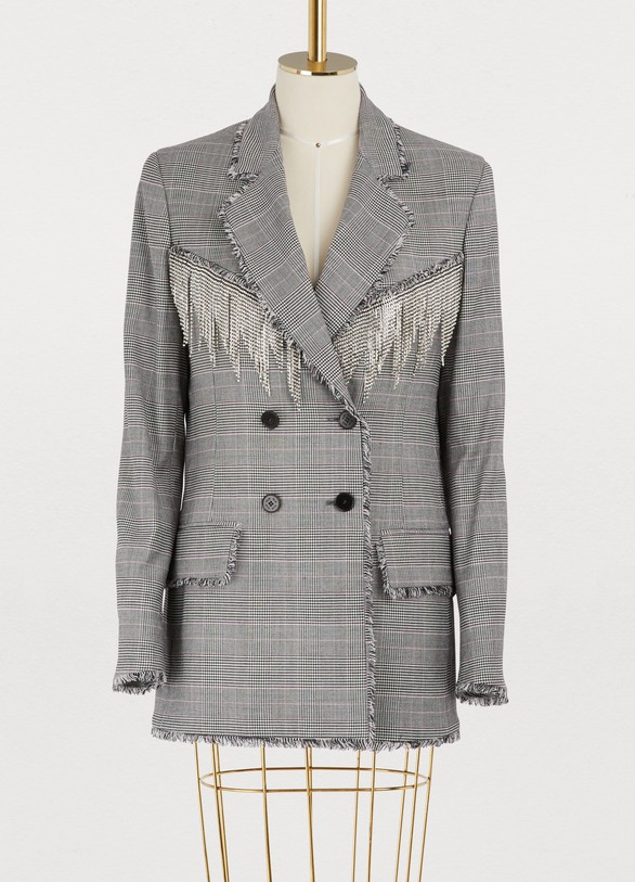 MSGM Fringed plaid jacket