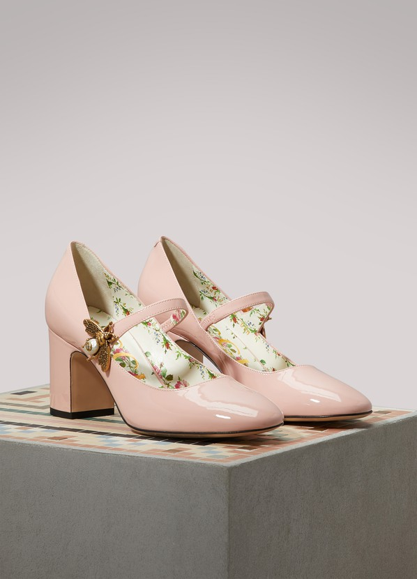 185fabd6ac6 ... Gucci Patent Leather Mid-heel Pumps with Bee Motif ...