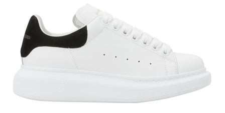 Alexander Mcqueen Suede-Trimmed Leather Exaggerated-Sole Sneakers In 9061 - White/Black