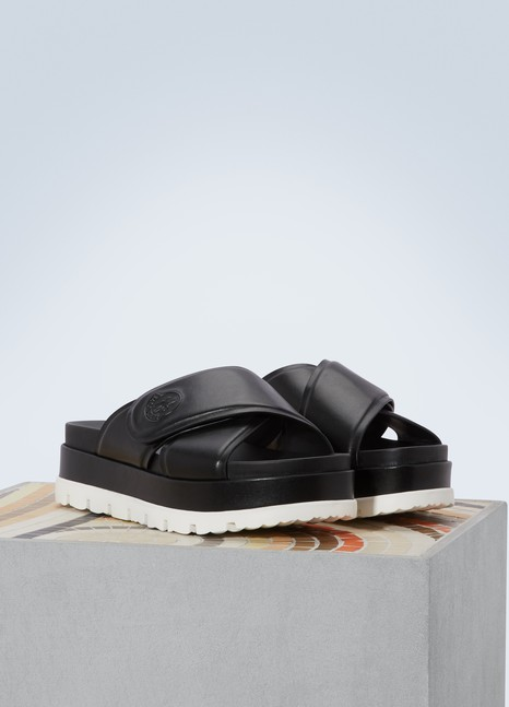 Moncler Camelia leather mules