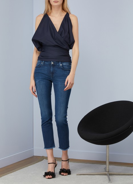 7 For All Mankind Jean taille mi-haute Pyper Crop avec bas effilé