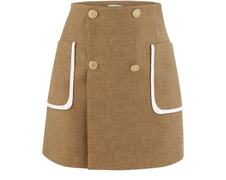Portfolio Wool & Silk Flannel Mini Skirt In Country by Fendi