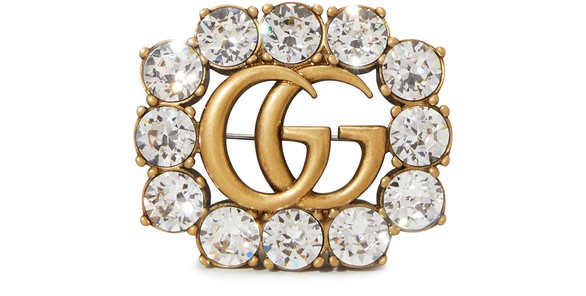 GUCCIDouble G metal brooch with crystals