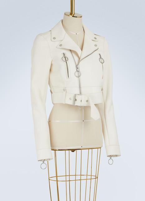 Off WhiteCropped leather biker jacket