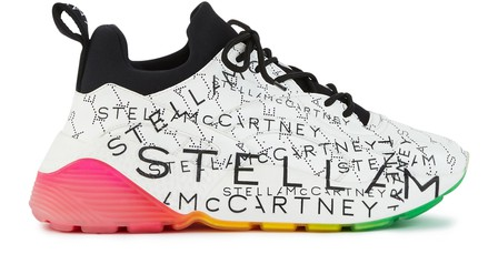 Stella Mccartney Eclypse Sneakers Laces In White Eco-Leather With Multicoloured Details In 9028 - Wht-Bk/Blk/B-W/Bk/Bk